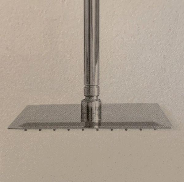 Soffione Super Slim Quadrato Acciaio Inox Braccio A Soffitto Varie Dimensioni CERAMICHEMIRANDA